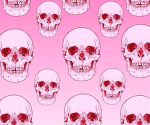 pink, skull, and wallpaper image