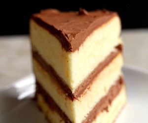 cake, yellow cake, and chocolate image