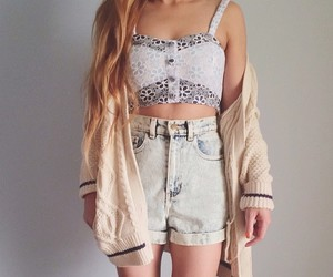 cardigan, short, and cute image