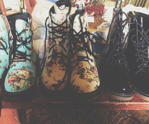 boots, flowers, and vintage image