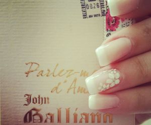 french, nails, and white image