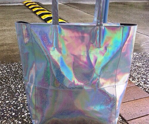 bag, holographic, and silver image