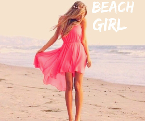 beach, blonde, and pink image
