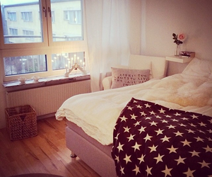 bed, stars, and white image
