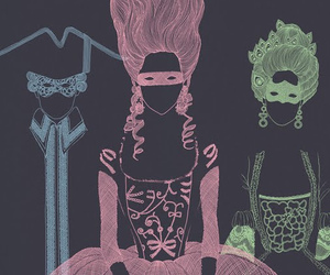 marie antoinette, illustration, and mask image