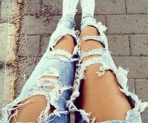 clothes, fashion, and ripped jeans image