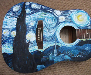 beach, guitar, and starry night image