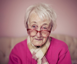 elderly, glasses, and pink image