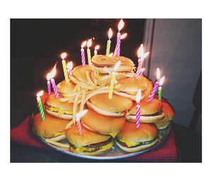 burgers, candles, and birthday cake image