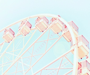 pink, summer, and ferris wheel image