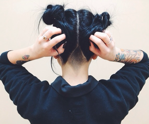 black hair, hair, and knot image