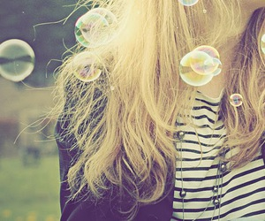 girl, hair, and bubble image