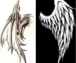 angel, demon, and wings image
