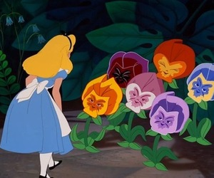 disney, alice in wonderland, and flowers image