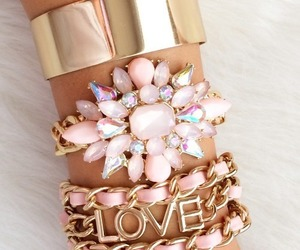 love, pink, and bracelet image