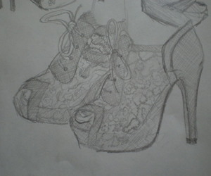 shoe, sketch, and fashion image