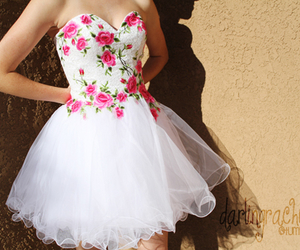 dress, flowers, and white image