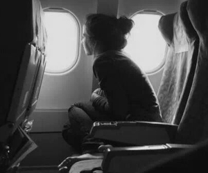 girl, black and white, and airplane image