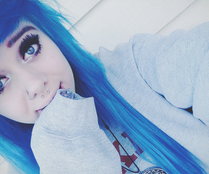 dyed hair and piercing image
