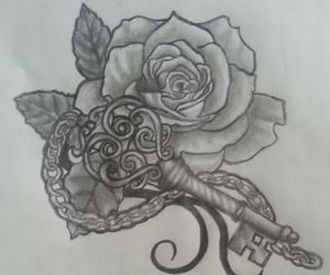 drawing, rose, and key to my heart image