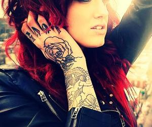 tattoo, red hair, and emo image