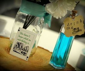 alice in wonderland, centerpiece, and drink me image