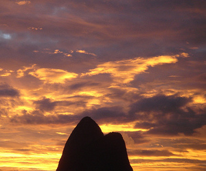 mountain, rio, and sunset image