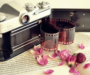 camera, book, and flowers image