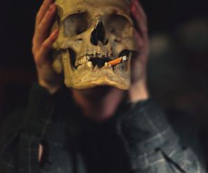 skull, cigarette, and smoke image