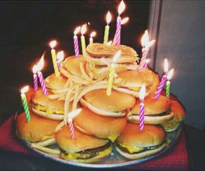 food, birthday, and burger image