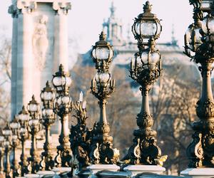 antique, street lamps, and bridge image