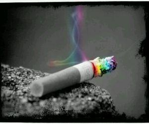cigarette, smoke, and rainbow image