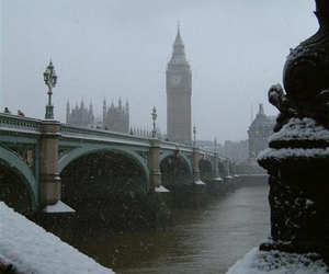 london, snow, and Big Ben image