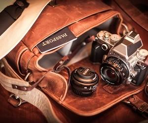 camera, bag, and photography image