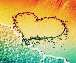 heart, love, and beach image