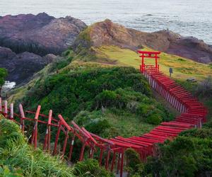 shinto shrine and japan mountains image