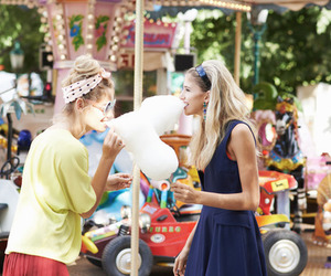 girl, cotton candy, and friends image