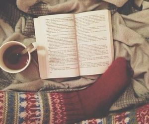 book, winter, and tea image