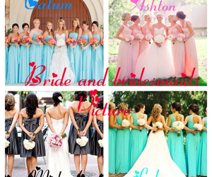 bride, bridesmaids, and flowers image