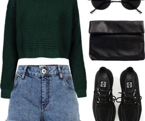 outfit, black, and green image