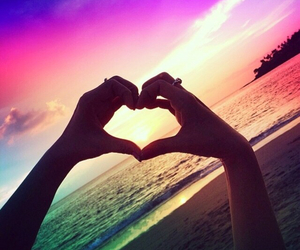 heart, beach, and sunset image