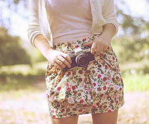 girl, camera, and skirt image
