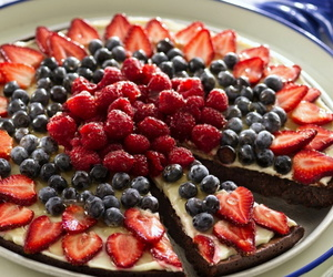 cake, blueberries, and food image