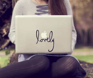 lovely, apple, and laptop image