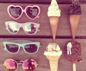 summer, sunglasses, and ice cream image