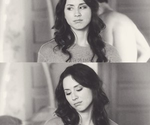 black and white, troian bellisario, and pll image