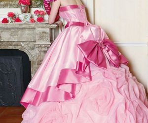 dress, weddingdress, and pink image