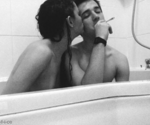 bath, love, and black and white image