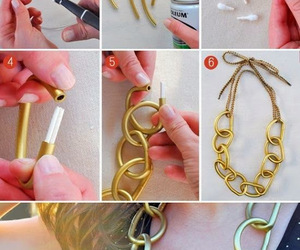 diy, necklace, and gold image