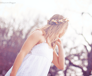 crown, dress, and flower crown image